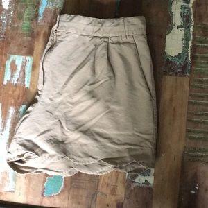 J Crew Tan Khaki Scalloped Shorts